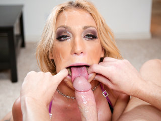 Amy Brooke sucks and makes cock cum by throat