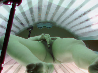Busty Brunette Masturbating In Solarium